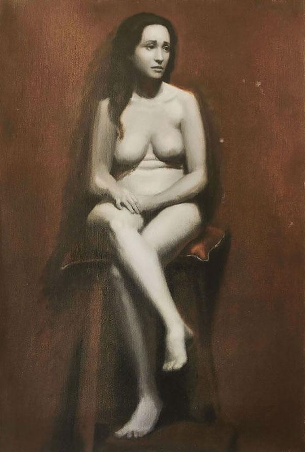 Nik Anikis Skušek: Chiara, 2015, sedeči akt, toplo-hladni Grisaille, olje na platno, 60 x 40 cm, Firence